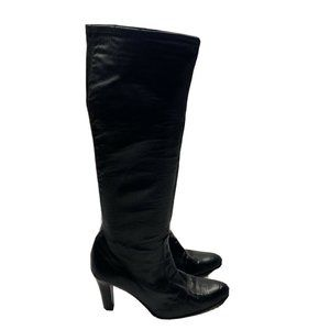 Cole Haan Black Tall Soft Leather Pull On Boots